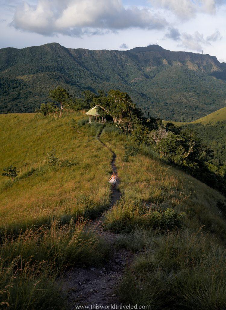 Girl walking along the hill at Mt. Tapyas in Coron, Palawan