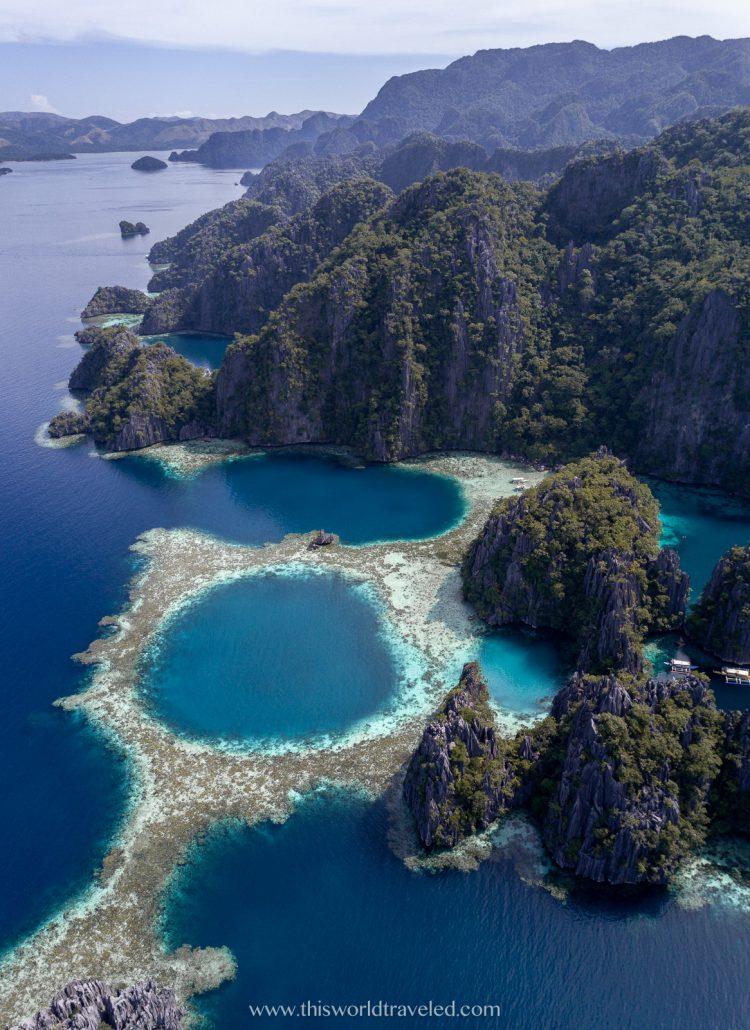 Drone shot of the Twin Lagoon near Coron in Palawan, Philippines