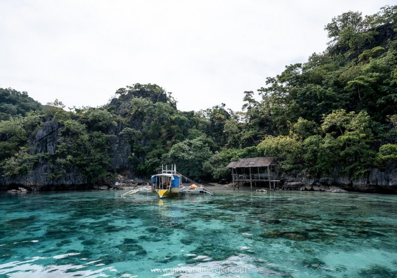 The crystal clear waters at the skeleton wreck snorkeling spot in Coron, Philippines