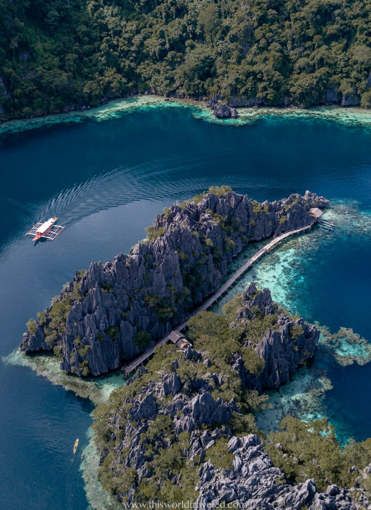 Entrance to the twin lagoon in Coron as seen from a drone