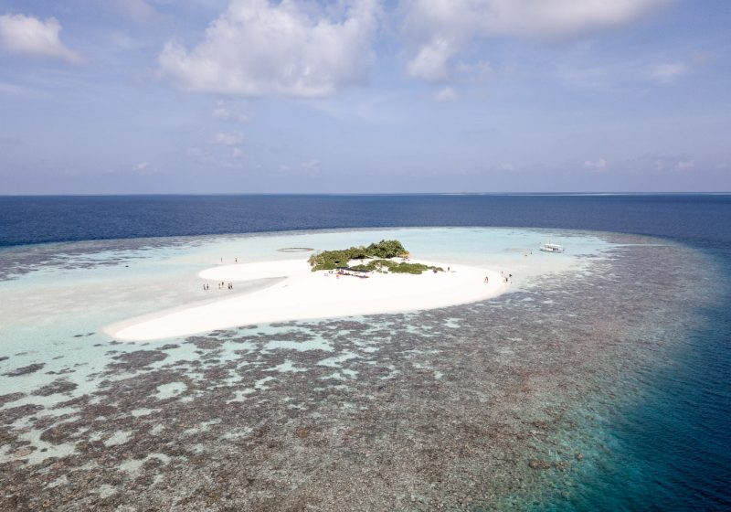 View of a private island in the Maldives from a drone