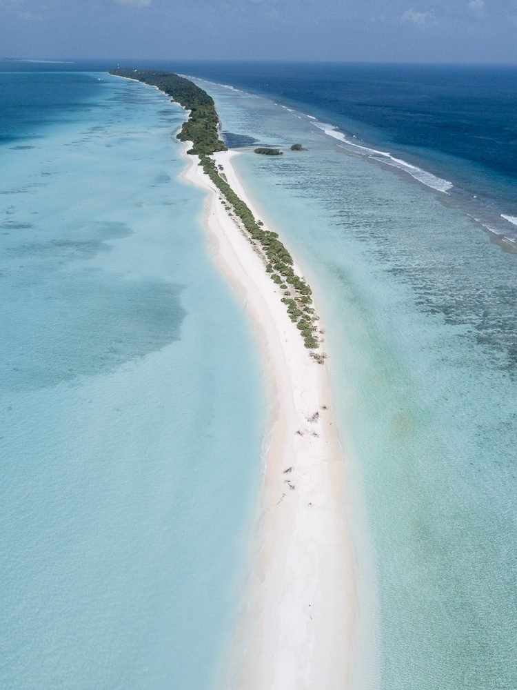 Drone view of Dhigurah Island in the Maldives