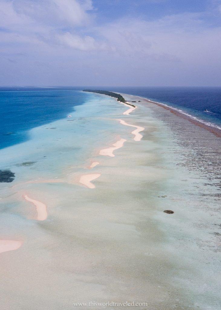 Sand banks near Dhigurah Island in the Maldives