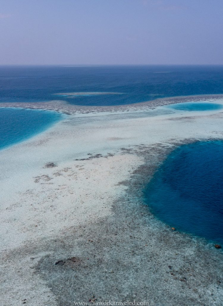Drone view of the coral reefs in the Maldives