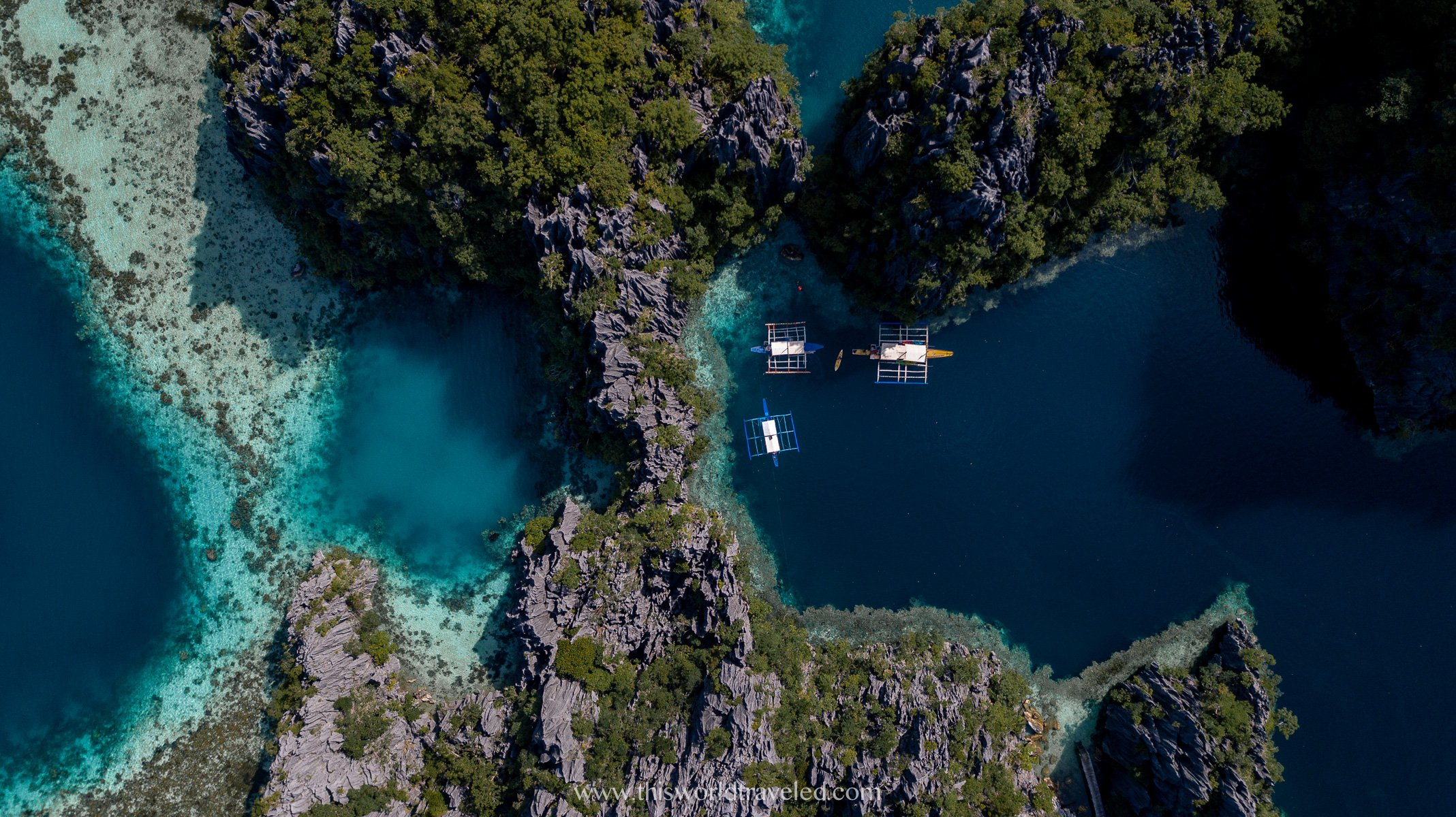 Drone shot of Twin Lagoon near Coron in the Philippines