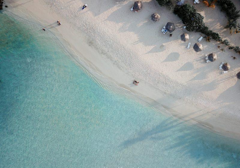 Drone shot of the bikini beach on Gulhi in the Maldives