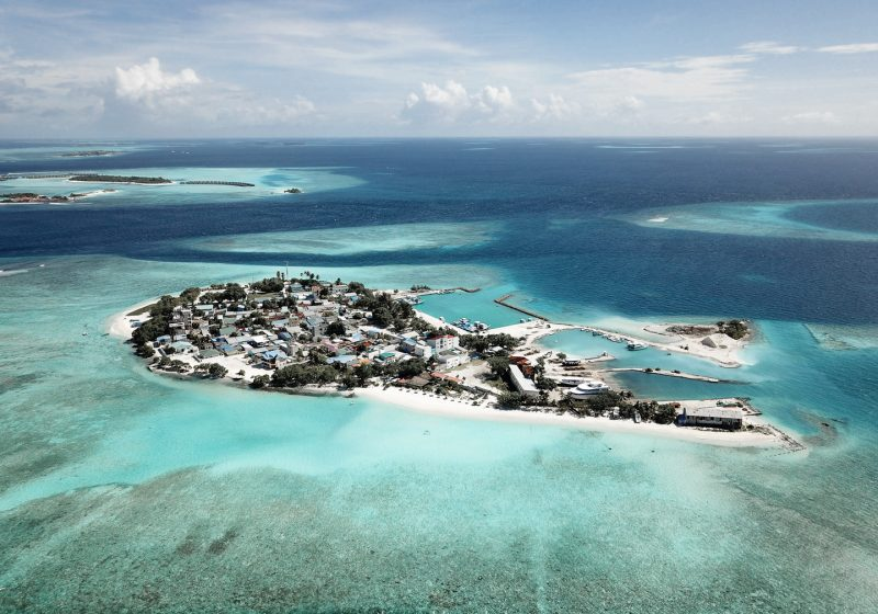 Drone shot of the island of Gulhi in the Maldives