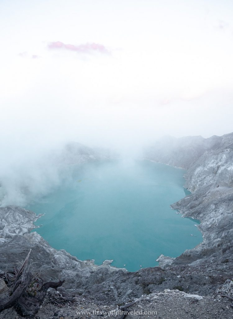 The turquoise water of the acidic crater lake at Kawah Ijen