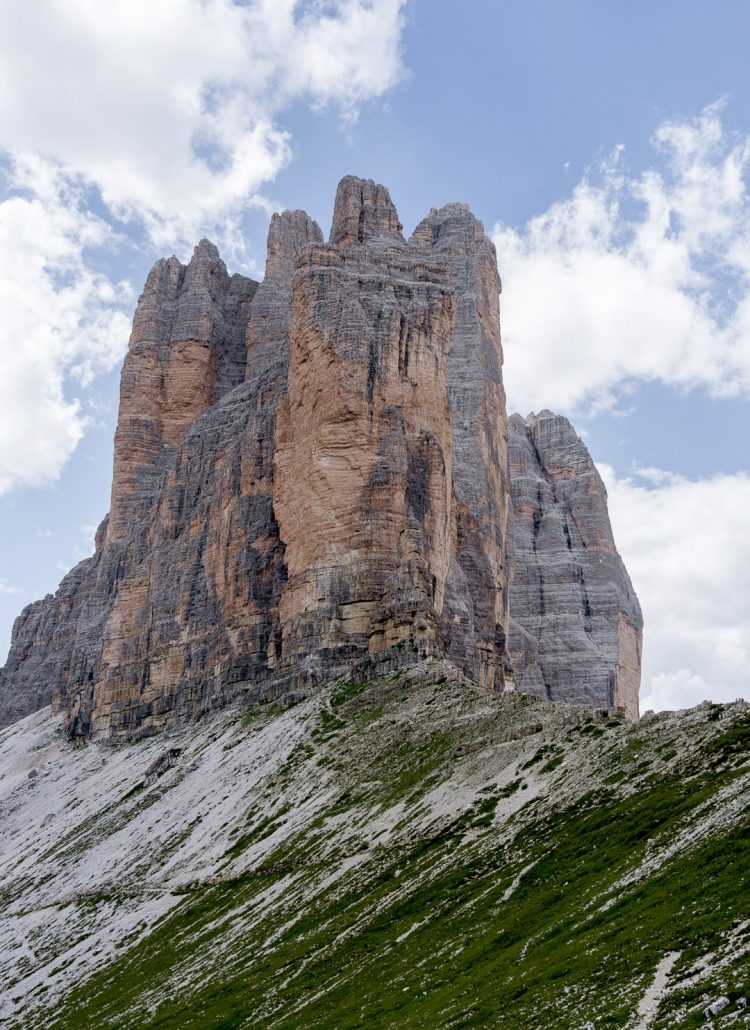 The three massive peaks of Tre Cime in the Dolomites in Italy