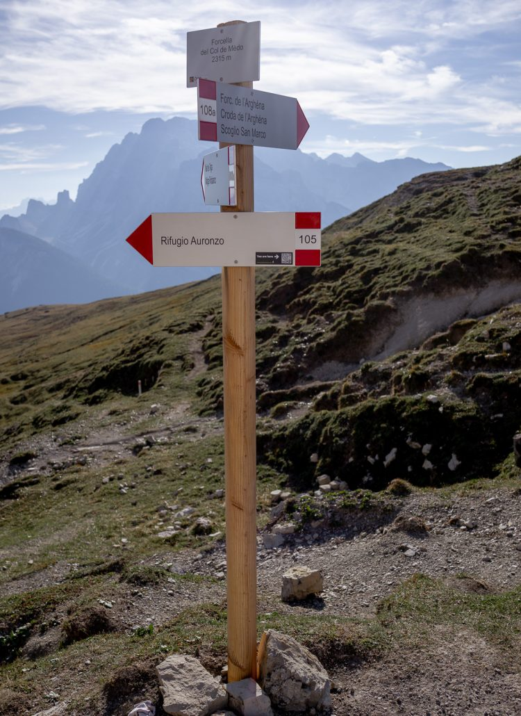 Hiking signs located at Tre Cime in northern Italy's Dolomites