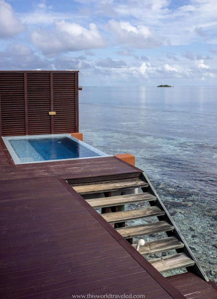 Private infinity pool on the deck of an over the water villa at Lily Beach Resort & Spa in the Maldives