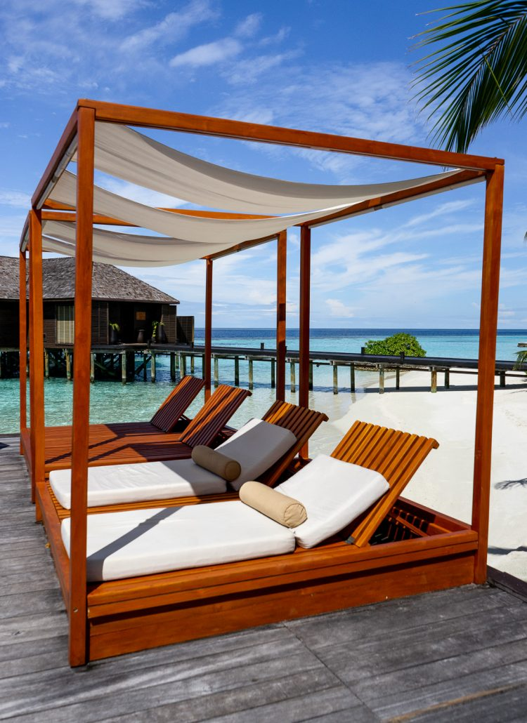 Beach chairs at Lily Beach Resort & Spa in the Maldives