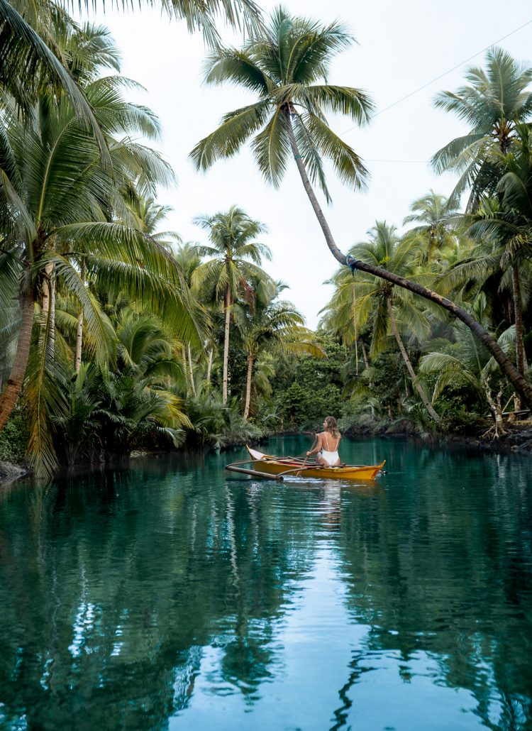 The Maasin River Palm Tree Swing on Siargao Island, Philippines
