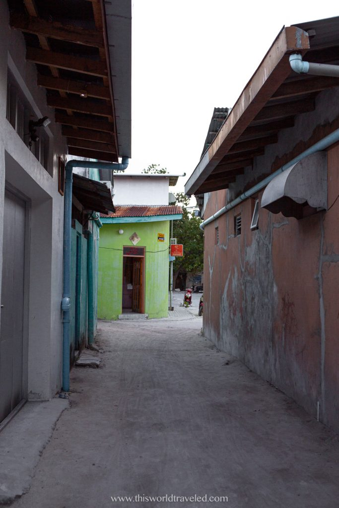 One of the local streets on the island of Mahibadhoo in the Maldives