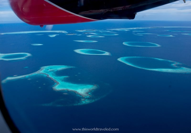 View of the islands and atolls in the Maldives from a seaplane