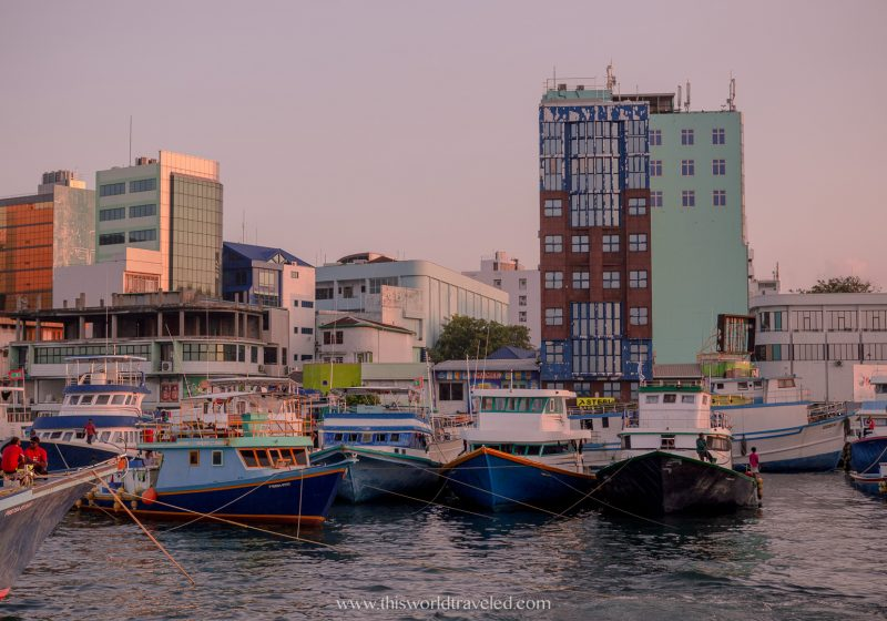 The capital city of the Maldives is Male which is where you can get a public speedboat or ferry