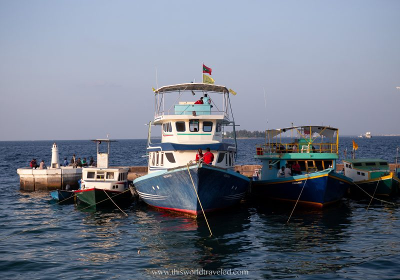 Boats parked a the harbor in Male, the capital city of the Maldives