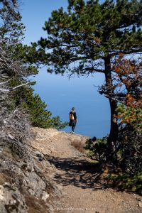 Girl hiking at Mount Constitution in Moran State Park in Orcas Island.