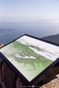 A map with surrounding landmarks at the summit of Mount Constitution in Orcas Island