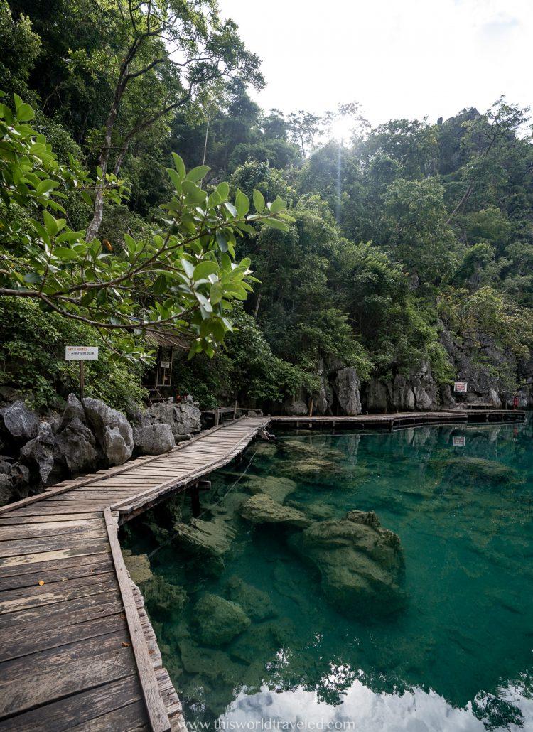 The boardwalk in Kayangan Lake in Coron