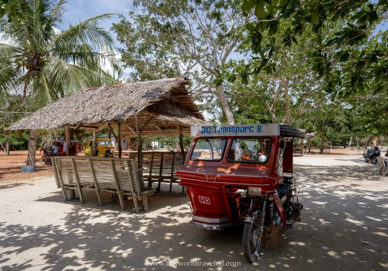 A rickshaw in the Philippines that has 3 wheels