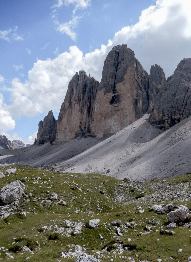 The 3 large mountain peaks of Tre Cime in northern Italy