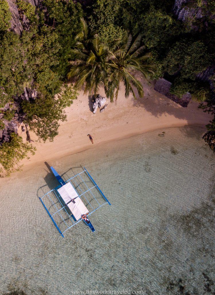 Drone shot of Vivian Beach while island hopping in Coron, Palawan
