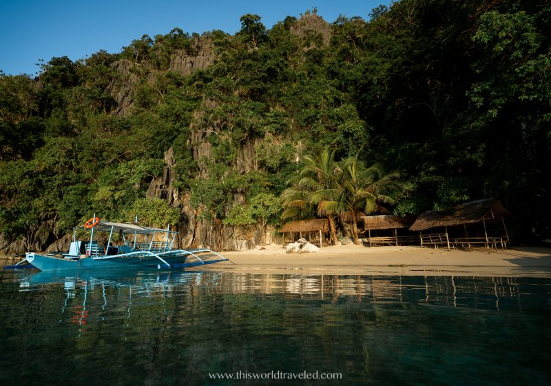 Enjoying a private beach on Vivian Beach while island hopping in Coron, Palawan