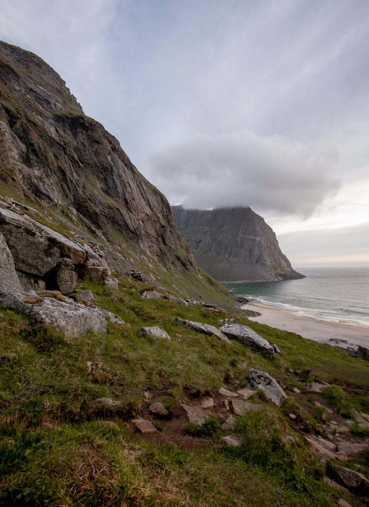 The view of Kvalvika beach from the hike up over the hill in the Lofoten Islands