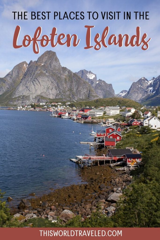 Red fishing huts that line the coast in the village of Reine in the Lofoten Islands, Norway