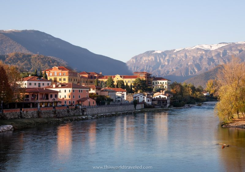 A small italian town called Bassano del Grappa that is located at the foothills of the Dolomites