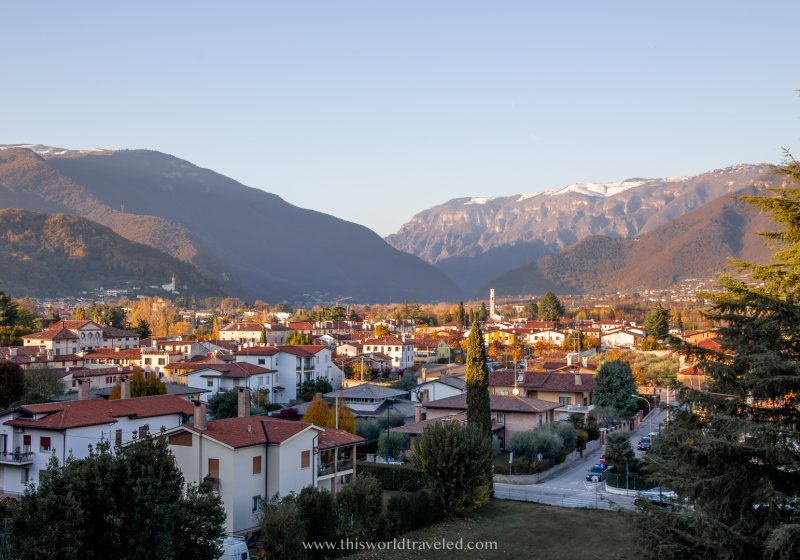 The town of Bassano del Grappa in Italy with traditional Italian architecture and mountain views