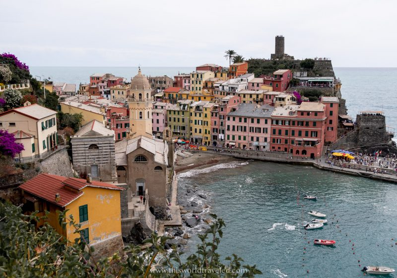 The colorful village of Vernazza in Cinque Terre, Italy as seen from the top of the hiking trail