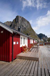 A red Rorbu in Hamnøy in the Lofoten Islands, Norway