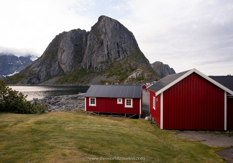 Eliassen Rorbuer in the town of Hamnøy in the Lofoten Islands is a traditional red fishing hut