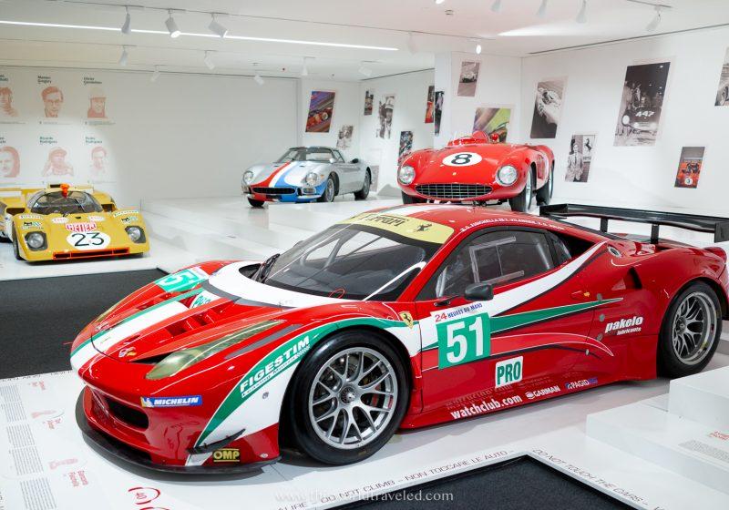 A few racing Ferrari's as seen inside the Enzo Ferrari Museum in Italy