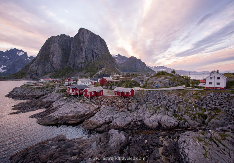 The red Rorbuer in the Lofoten Islands. This is Eliassen Rorbuer in Hamnøy