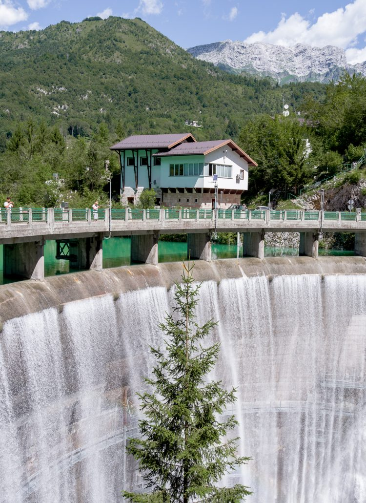 Water falling from a large dam at Lake Barcis in northern Italy
