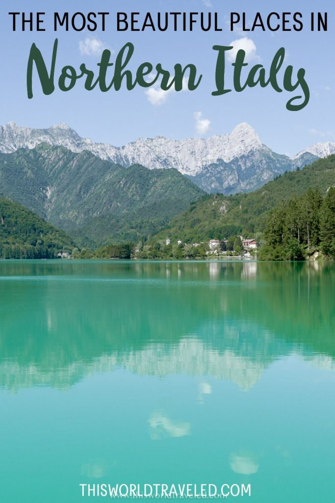 the emerald green water of Lake Barcis in northern Italy