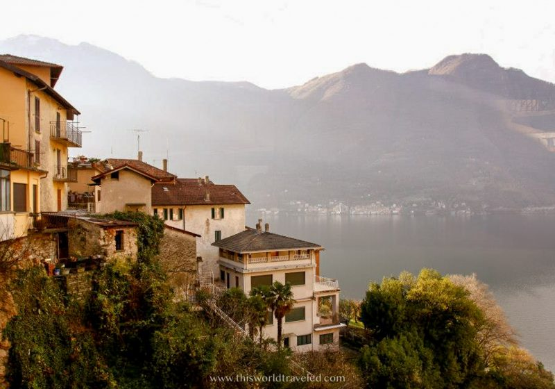 Italian houses up on a hill overlooking Lake Como in northern Italy
