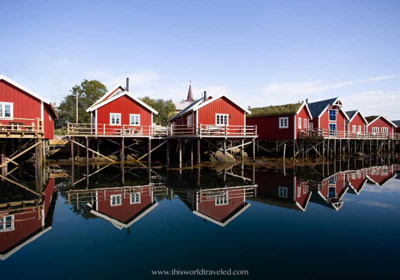 The red colored fisherman huts on stilt in the small village of Reine in the Lofoten Islands, Norway
