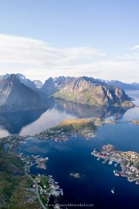 Massive mountains and small villages that can be seen from the top of Reinebringen in the Lofoten Islands