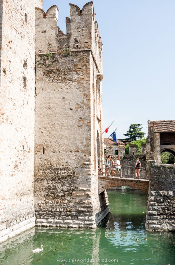 The Sirmione castle and surrounding moat in northern Italy