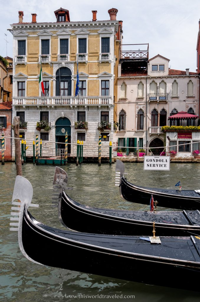 Gondolas parked along the Grand Canal in Venice, Italy