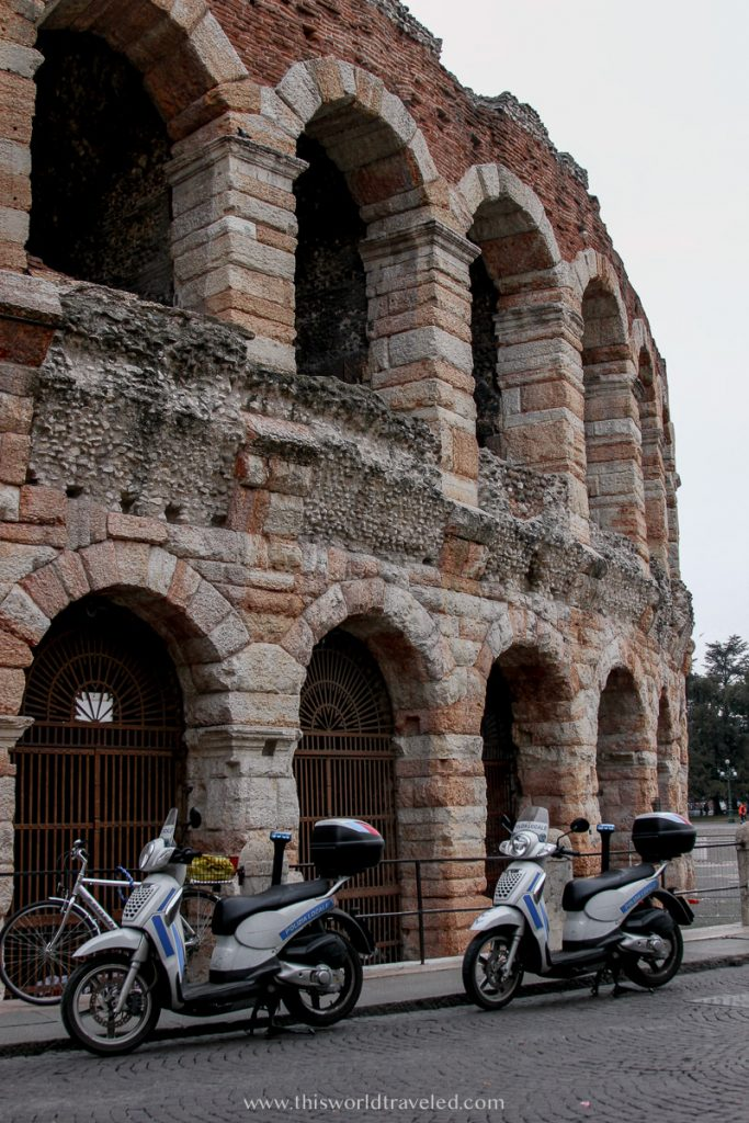 The large stone arena or colosseum located in northern Italy's Verona