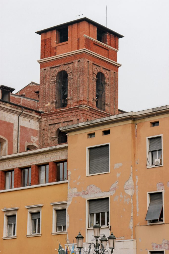 Yellow and orange Italian buildings located in Verona in northern Italy
