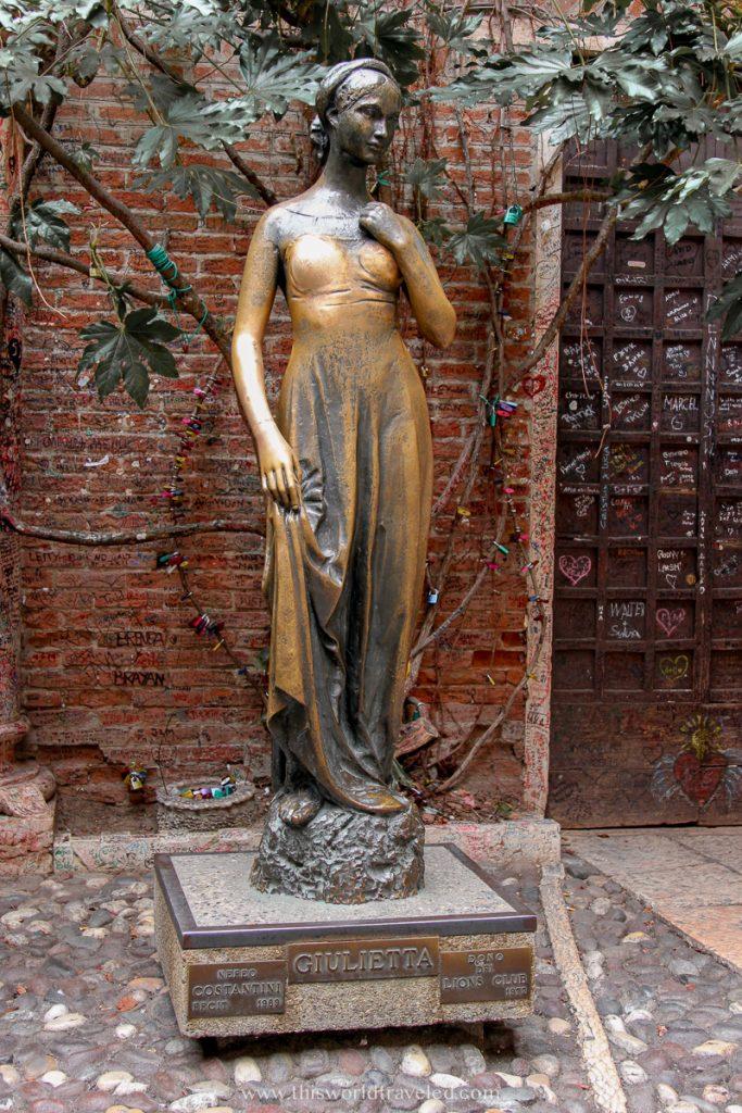 The bronze Giulietta statue in Verona Italy