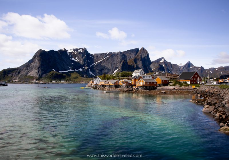 The ochre colored fisherman huts located in Sakrisøya in the Lofoten Islands, Norway
