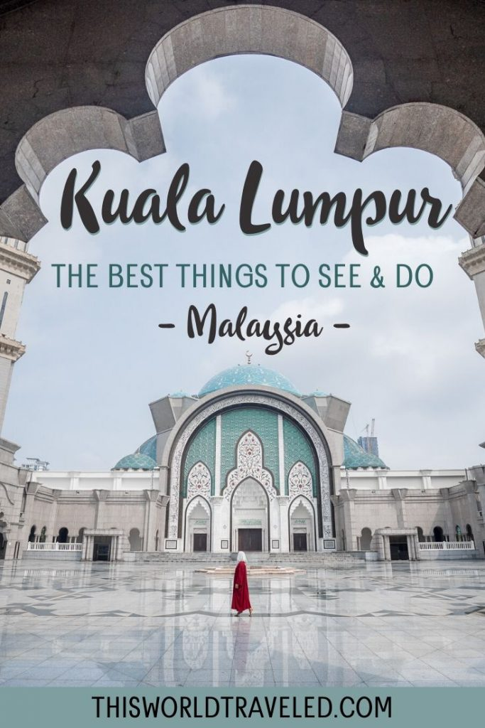Girl standing in front of the Wilayah Mosque in KL with text that describes the blog post