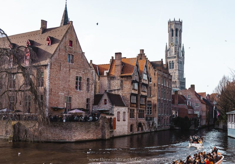 The Quay of the Rosary, Rozenhoedkaai, is an iconic spot in Bruges with views of the canal and Belfry.